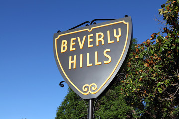 View of the famous Beverly Hills Shield sign on September 4, 2010 in Beverly Hills, California, USA.