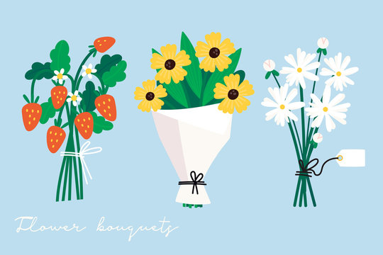 Hand drawn vector set of three various flower and berry bouquets. Camomile, wild strawberries. Colored trendy illustration. Flat design. Paper cut style. All elements are isolated