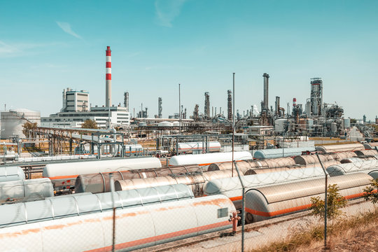 Fuel and chemical plant and industrial area with storage and railway tanks for transportation of liquids