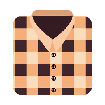Vector Cartoon Plaid Shirt Isolated On White Background