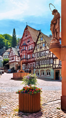 Wall Mural - View of the historic Market Square with statue and picturesque half timbered buildings in Miltenberg, Bavaria, Germany