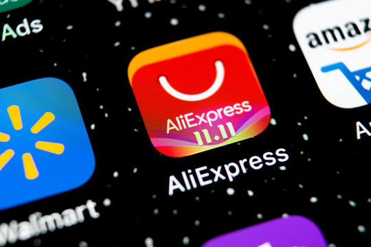 Sankt-Petersburg, Russia, February 3, 2019: Aliexpress application icon on Apple iPhone X smartphone screen. Aliexpress app icon. Aliexpress.com is popular e-commerce application. Social media icon