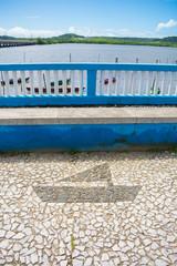 Portuguese pavement with boat pattern on the promenade in Itapissuma - Pernambuco, Brazil