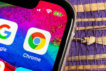 Sankt-Petersburg, Russia, February 17, 2019: Google Chrome application icon on Apple iPhone X screen close-up. Google Chrome app icon. Google Chrome application. Social media network
