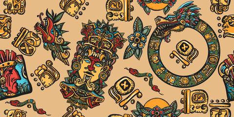 Mayan pattern. Ancient mexican civilization. Aztec, inca background. Golden glyphs, Kukulkan, totem, dragon, indian. Old school tattoo