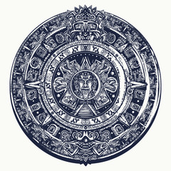 Aztec sun stone. Tattoo and t-shirt design. Mayan calendar. Mexican mesoamerican  monolith. Ancient hieroglyph signs and symbols