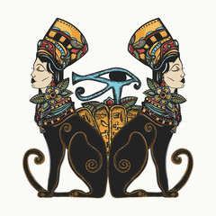 Ancient Egypt. Two black woman cats and sacred eye of god Horus. Queen Nefertiti. Princess Cleopatra. Egyptian art. Goddess. Color tattoo and t-shirt design