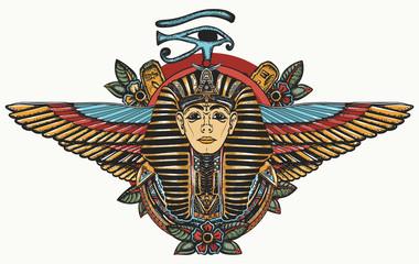 Ancient Egypt. Golden Ppharaoh, Sun eye and wings Horus god. Egyptian great king. Tutankhamen. Color tattoo. Print for t-shirt design