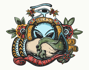 Storm area 51. Color tattoo. Paleocontact. Aliens and people. First contact UFO, conspiracy theory