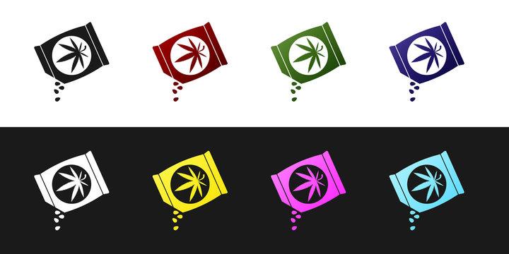 Set Marijuana or cannabis seeds in a bag icon isolated on black and white background. Hemp symbol. The process of planting marijuana. Vector Illustration