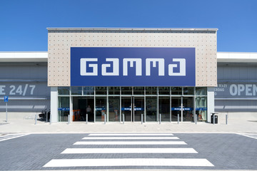 KATWIJK AAN ZEE, THE NETHERLANDS - JUNE 28, 2019: Gamma hardware store. Gamma is a Dutch hardware store-chain. It started in May 11, 1978 in Breda.