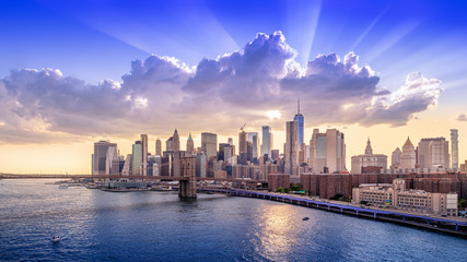 panoramic view at manhattan while sunset