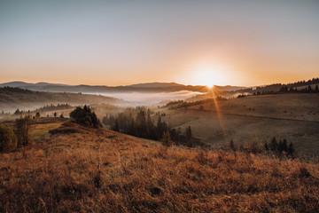 Sunrise in the Carpathian mountains landscape