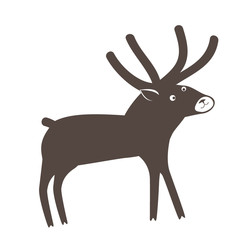 A cute surprised deer on white background. Vector illustration