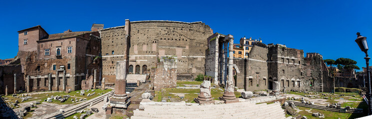 Panoramic view of the ancient ruins of the Forum of Augustus with Temple of Mars the Avenger inaugurated in 2 BC