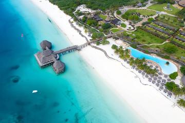 Photo sur Plexiglas Zanzibar The beautiful tropical Island of Zanzibar aerial view. sea in Zanzibar beach, Tanzania.