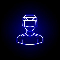 avatar hockey player line icon in blue neon style. Signs and symbols can be used for web logo mobile app UI UX