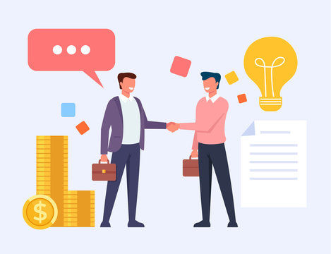 Two business man office workers people characters shaking hands. Vector flat cartoon graphic design illustration