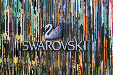 Swarovski shop in Tokyo, Japan. It is an Austrian producer of luxury cut lead glass (crystal), founded at 1895.
