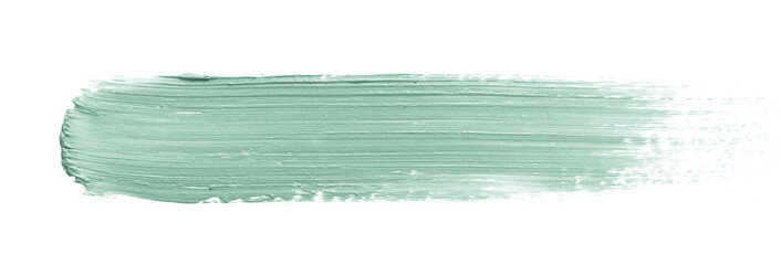 Color corrector stroke isolated on white background. Green color correcting concealer cream smudge...