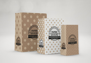 3 Paper Takeout Bags Mockup