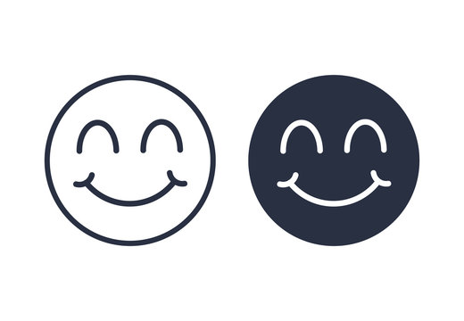 Smile face with closed eyes icon logo. Smile Icons set linear and solid in trendy flat style isolated on white