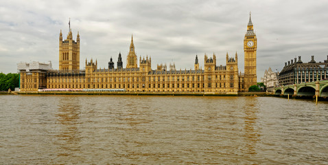 View across the River Thames of the U.K. Houses of Parliament in London, England