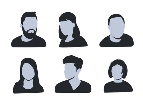 vector avatar, profile icon, head silhouette. Group of working people diversity, diverse business men and women
