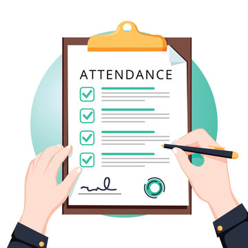 Attendance concept. Businessman holding document. Vector flat design. Man hold document clipboard with checklist.