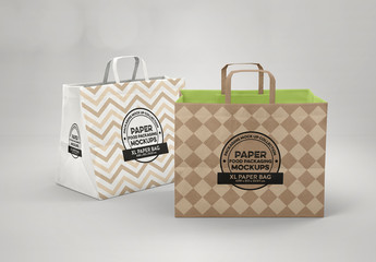 2 Paper Bags with Flat Handles Mockup
