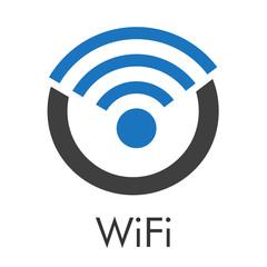 Logotipo abstracto con texto WiFi con letra O con ondas arriba en azul y gris