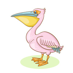 Pink pelican.  In cartoon style. Isolated on white background.