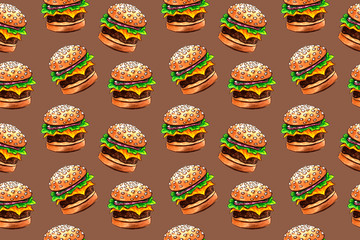 seamless pattern with junk fast food drawing by watercolor, artistic painting background, hand drawn illustration. pizza and burger set