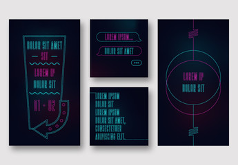 Neon Style Elements Social Media Layout Set