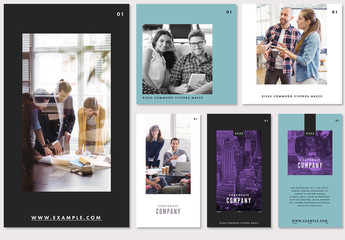 Purple and Teal Social Media Post Layout Set