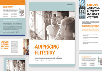 Blue and White Flyer and Postcard Layout Set with Orange Accents