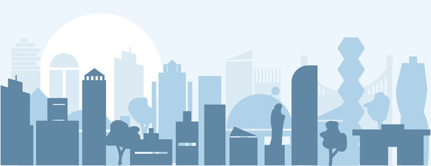 city Silhouette landscape. town skyline illustration. Horizontal Urban background for web design. vector illustration