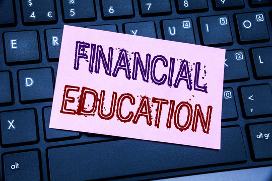 Handwriting Announcement text showing Financial Education. Business concept for Finance Knowledge written on sticky note paper on black keyboard background.