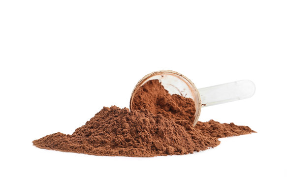 Pile of chocolate protein powder and scoop isolated on white