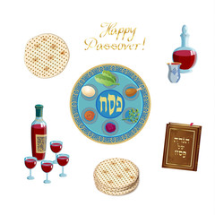 Happy Passover Holiday - translate Hebrew lettering, greeting card with decorative vintage floral frame, four wine glass, matzah - jewish traditional bread for Passover seder ceremony, pesach plate