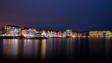 Hamburg Binnenalster and skyline during the night