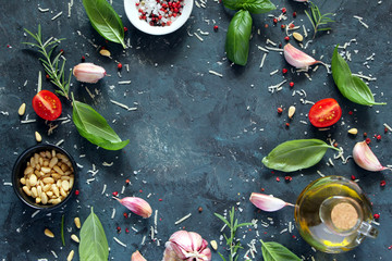 Papiers peints Cuisine Ingredient for cooking on dark background. Top view with copy space. Cooking concept.