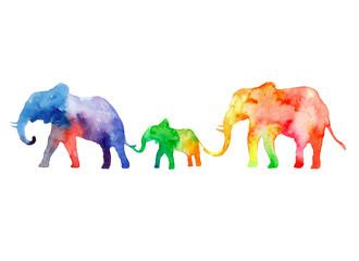 Walk the family of elephants. Colors of rainbow.