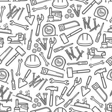 Work tools pattern of hammer, screwdriver, spanner