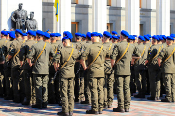Armed forces of Ukraine, National Guard, Kyiv. Soldiers of Ukrainian army in blue berets are standing in the military system near Verkhovna Rada, Parliament in Kiev. Ukrainian war,conflic