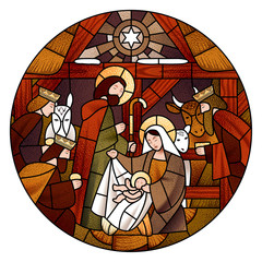 Circle stained glass with the Christmas in beige and brown colors
