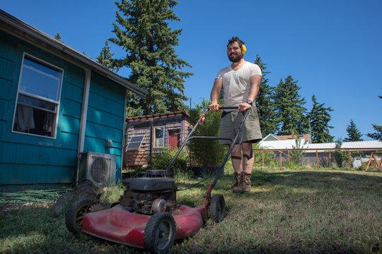 Working man in yard