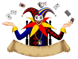 Joker with playing cards with a retro parchment banner
