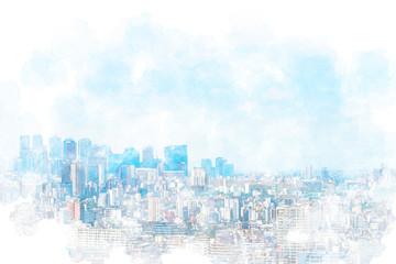 Printed kitchen splashbacks Light blue 東京風景 Tokyo city skyline , Japan. Illustration of watercolor painting style.