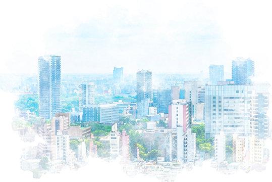 東京風景 Tokyo city skyline , Japan. Illustration of watercolor painting style.